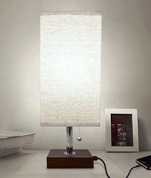 Bedside Lamp with USB Port wooden base
