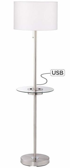 Floor Lamp with USB and Outlet
