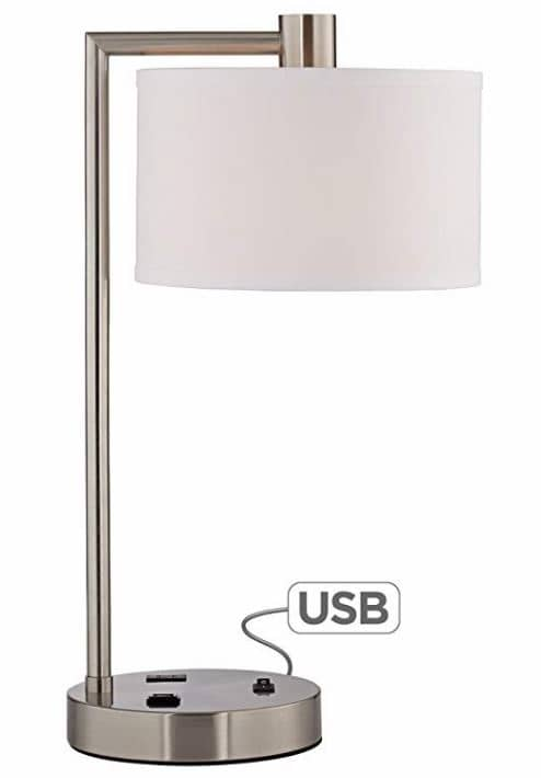 Table Lamp with USB Port and Outlet round